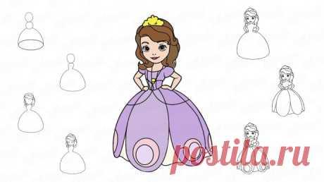 Как нарисовать принцессу — Поделки с детьми