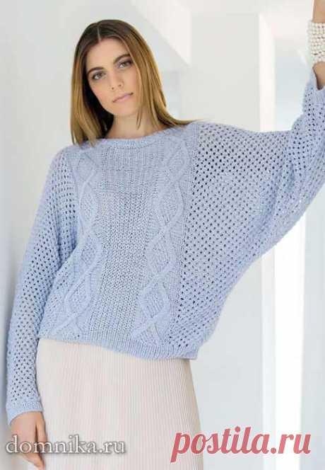 Пуловеры вязаные спицами с описанием женские креативные весна 2019