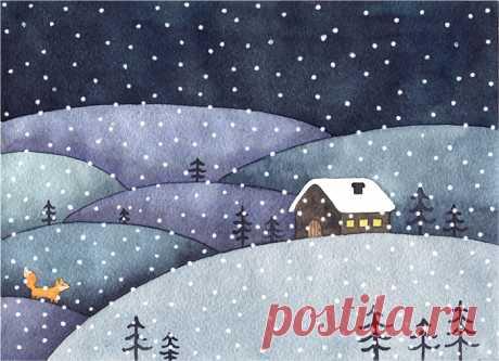 Сообщество иллюстраторов | Иллюстрация Зимняя ночь.