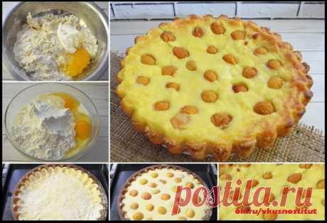 Абрикосовый заливной пирог Ну очень вкусный пирог со спелыми солнечными абрикосами.  Ингредиенты: - 200 г маргарина или сливочного масла, - 3 куриных яйца, - 300 г муки, - 500 г сметаны, - 200 г сахара, - 300 г абрикосов, - 50 г кукурузного крахмала, - 1 ч. ложка разрыхлителя, - ванилин по вкусу.  Приготовление: 1. В емкости для замеса теста высыпать муку, добавить 1 куриное яйцо, 100 г сметаны, натертый маргарин, 100 г сахара и разрыхлитель. Хорошо замесить тесто и убрать...