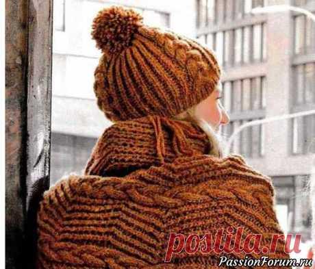 Шапка и шарф спицами с зигзагообразным узором | Вязание спицами аксессуаров