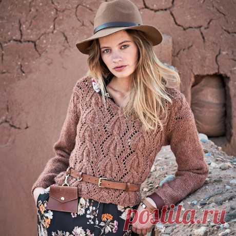 Ажурный пуловер с «косами» - схема вязания спицами с описанием на Verena.ru