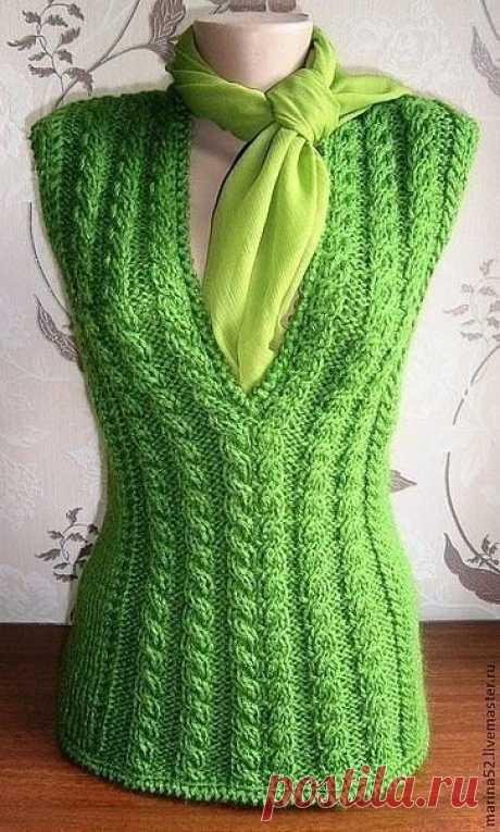 Безрукавки спицами. Шикарные идеи для любителей вязания.