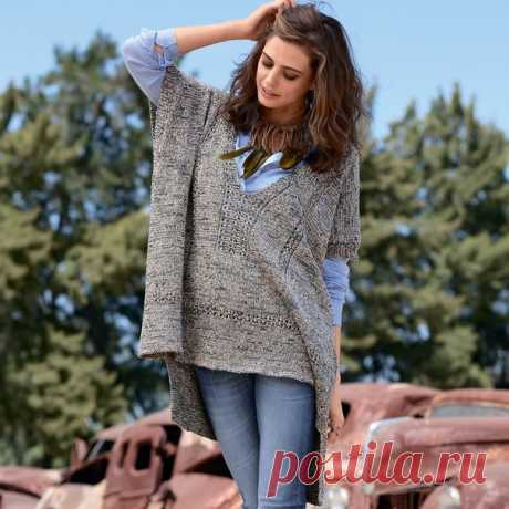 Пуловер-пончо из меланжевой пряжи У нас еще много интересного  Удлиненная спинка, красивый строгий узор, подчеркивающий V-образный вырез, и очень свободный покрой — этот пуловер-пончо станет вашим фаворитом.  Размеры 38/40 (44/46)  ВАМ ПОТРЕБУЕТСЯ Пряжа (80% хлопка, 20% ацетатного волокна; 130 м/50 г) — 500 (600) г меланжевой джинсово-бежевой; круговые спицы №3 длиной 80 см; крючок №3.  УЗОРЫ И СХЕМЫ  ЛИЦЕВАЯ ГЛАДЬ Лицевые ряды — лицевые петли, изнаночные ряды — изнаночные...