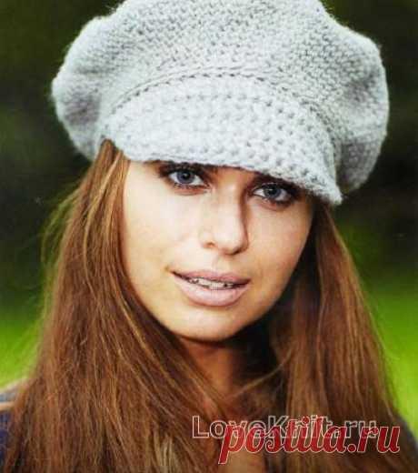 Женская кепка с помпоном схема крючком » Люблю Вязать