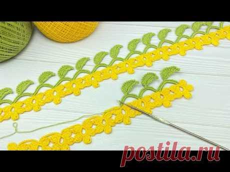 Вязание крючком ЦВЕТОЧНАЯ КАЙМА тесьма ЦВЕТОЧКИ мастер-класс  Crochet flowers ribbon lace