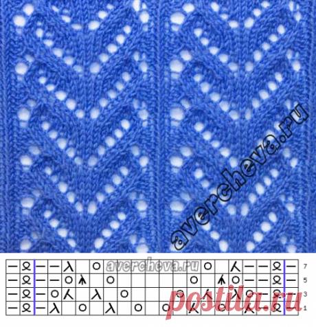 Узор 742 «ажурные сердечки»| каталог вязаных спицами узоров
