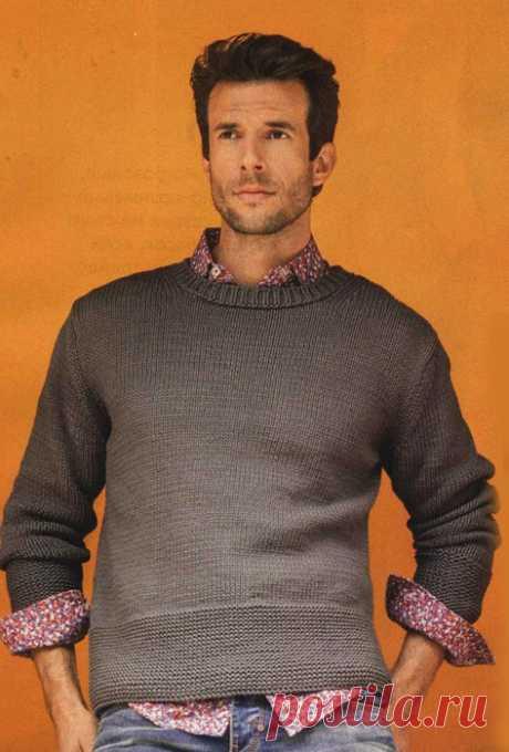 Мужской свитер спицами - Портал рукоделия и моды