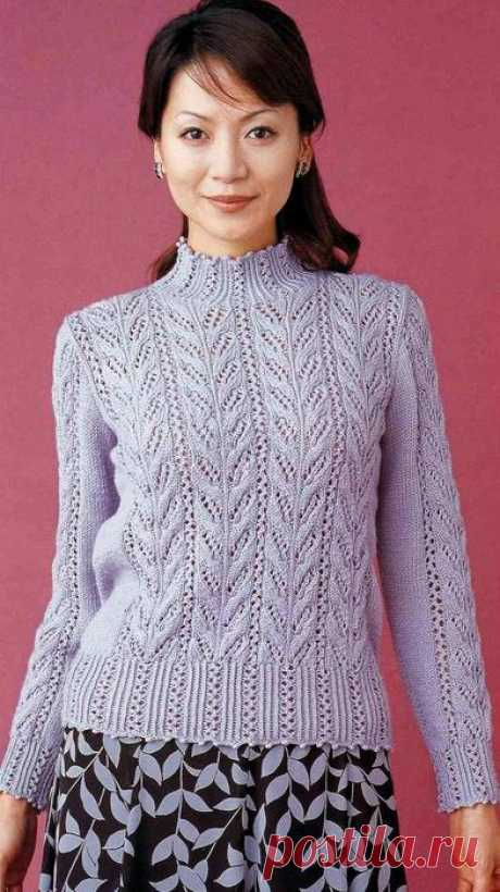 Красивые ажурные свитера спицами
