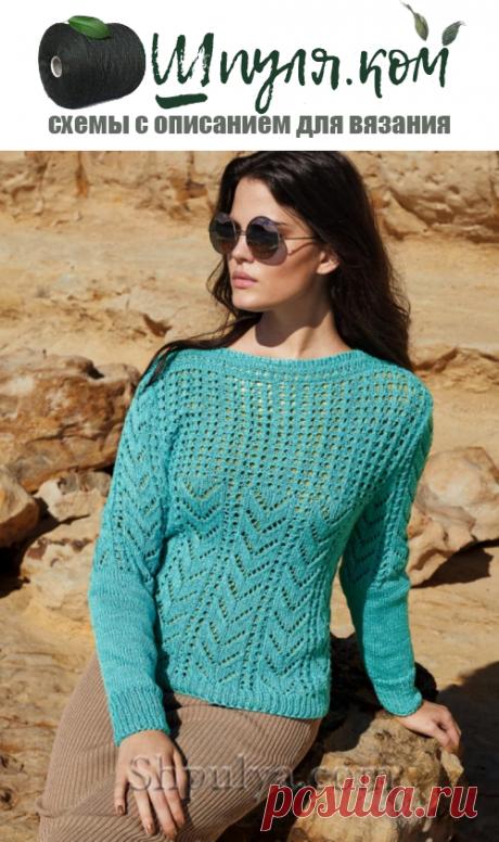 Бирюзовый пуловер ажурным узором — Shpulya.com - схемы с описанием для вязания спицами и крючком