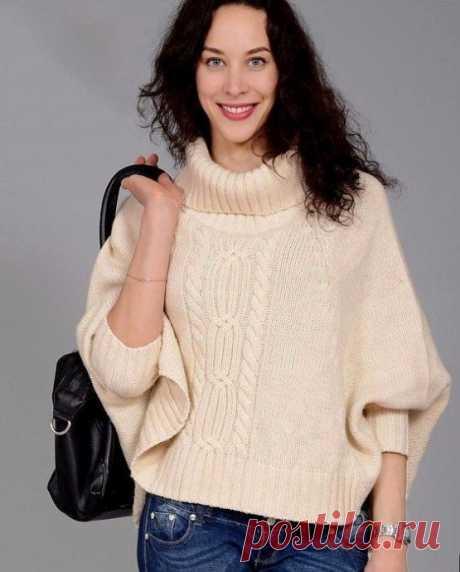 """Нежный и теплый свитер с рукавами """"летучая мышь"""", вяжем спицами"""