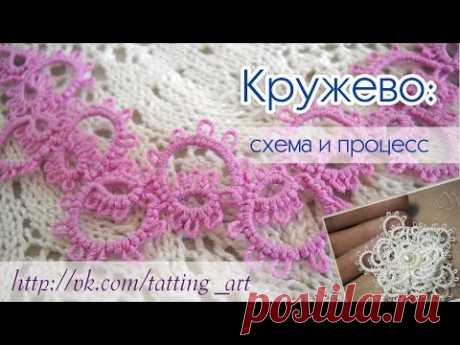 How to spin tape lace to a frivolita. Scheme and process\/\/lace tatting, patterns and processes.