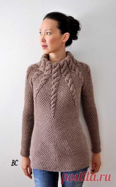 свитер спицами «Медуза»