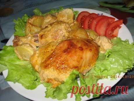 Как приготовить вкусная курочка в маринаде вместе с картошкой в духовке - рецепт, ингридиенты и фотографии