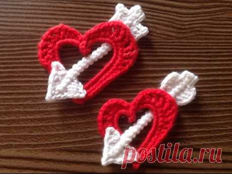 DIY Вяжем плоское сердечко - валентинку ,пронзенное стрелой