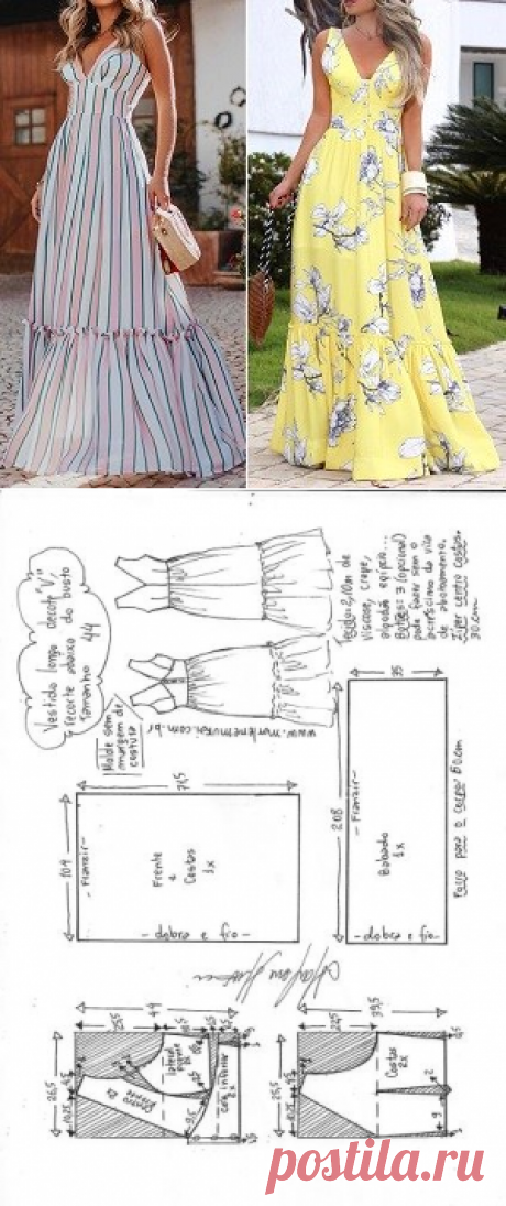 "Vestido longo decote ""V"", recorte e babado | DIY - molde, corte e costura - Marlene Mukai"