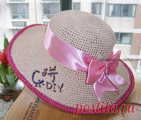 Шляпка с широкими полями крючком. Женская пляжная шляпка с ленточкой | Шкатулка рукоделия