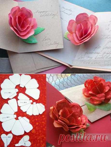 Объемные открытки своими руками с цветами внутри, 3д открытки из бумаги на день рождения и другие праздники - Сам себе мастер - медиаплатформа МирТесен