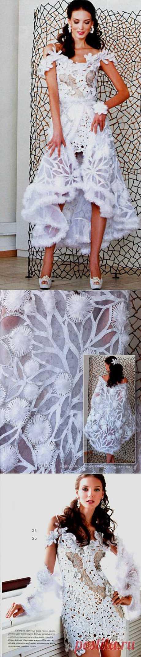 Вязание. Роскошное платье и шаль, которая превращается в верхнюю юбку!!!.