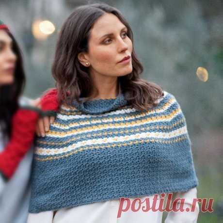 Пелерина в полоски. Крючком. / knittingideas.ru