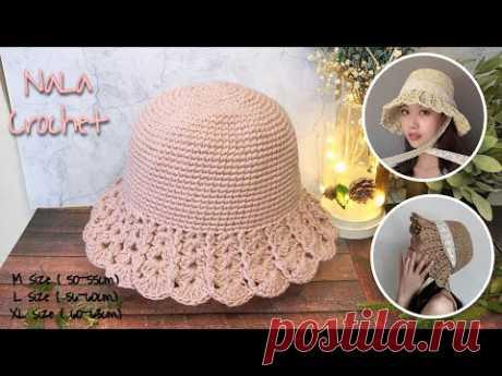 Crochet bucket hat (English subs )#ถักหมวกบักเก็ต#ถักหมวกไหมพรม