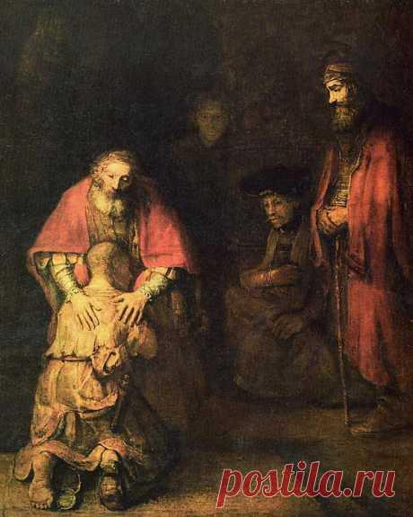 Возвращение блудного сына - Рембрандт Харменс Ван Рейн. Около 1668. Холст, масло. 262x205. Выставлена в музее - Эрмитаж. Одной из вершин творчества великого нидерландского художника считается картина «Возвращение блудного сына». Она была написана в последнее десятилетие жизни мастера, когда он был уже немощным, старым и нищенствовал, ведя полуголодное существование. До этого Рембрандт (1606-1669) неоднократно обращался к сюжету «блудного сына» в своих графических работах.