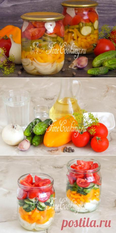 Салат из огурцов, помидоров, перца и лука на зиму - рецепт с фото