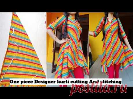 Designer High low pattern kurti with collor neck design cutting and stitching//collor neck cutting
