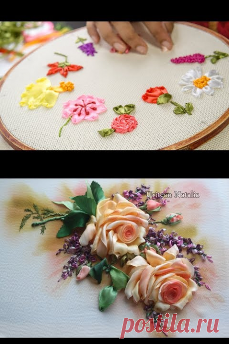 Hand embroidery Designs- Ribbon embroidery stitches for beginners. - YouTube