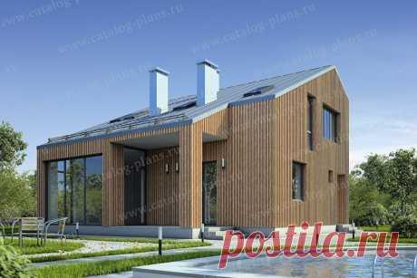 Проект двухэтажного дома 10x10 в стиле Барнахаус с панорамными окнами