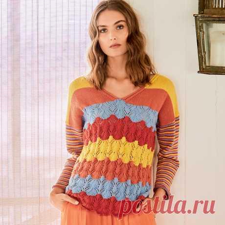 Пуловер в цветную полоску - схема вязания спицами с описанием