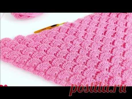 "Шаль - бактус крючком ""Веера""//Shawl - Crochet Bactus//Узор крючком ""Веера""//Crochet pattern"""