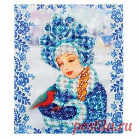 Набор для вышивания бисером 'Бисеринка' 'Снегурочка', 18,5*22 см | Вышивка бисером | узоры для свитера