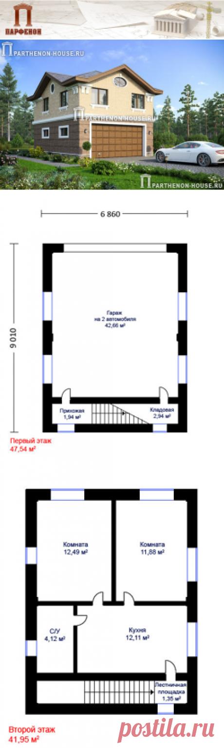 Проект гостевого дома-гаража на автомобиля ГЮ 89-49  Площадь застройки: 71,80 кв.м. Площадь общая дома-гаража: 89,49 кв.м. Площадь жилая: 24,37 кв.м. Площадь кровли: 90,00 кв.м. Строительный объем: 308,00 куб.м. Высота 1 этажа: 2,750 м. Высота 2 этажа: от 2,380 м. до 3,000 м. Высота дома-гаража в коньке от уровня земли: 7,280 м.   Технология и конструкция: строительство дома-гаража из газобетонных блоков. Фундамент: монолитная ж/б плита.
