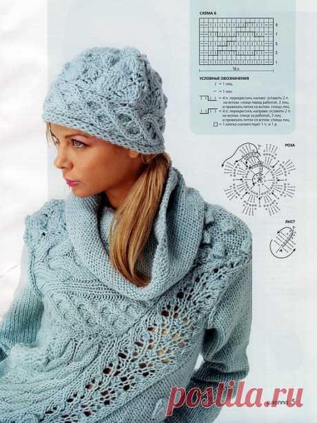 Пуловер спицами с ассиметричной вставкой,. Интересный пуловер спицами |