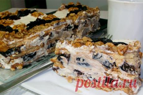 Изысканный торт без выпечки с черносливом и орехами Никого не оставит равнодушным!