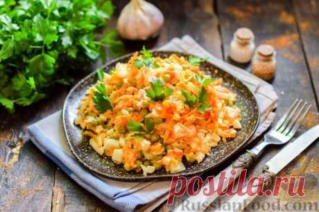 Рецепт: Салат с морковью, зелёным горошком и яйцами на RussianFood.com