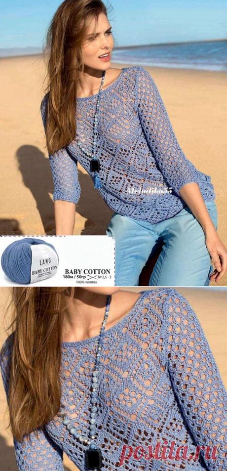 Модели вязания со схемами и описаниями: Летний ажурный пуловер спицами