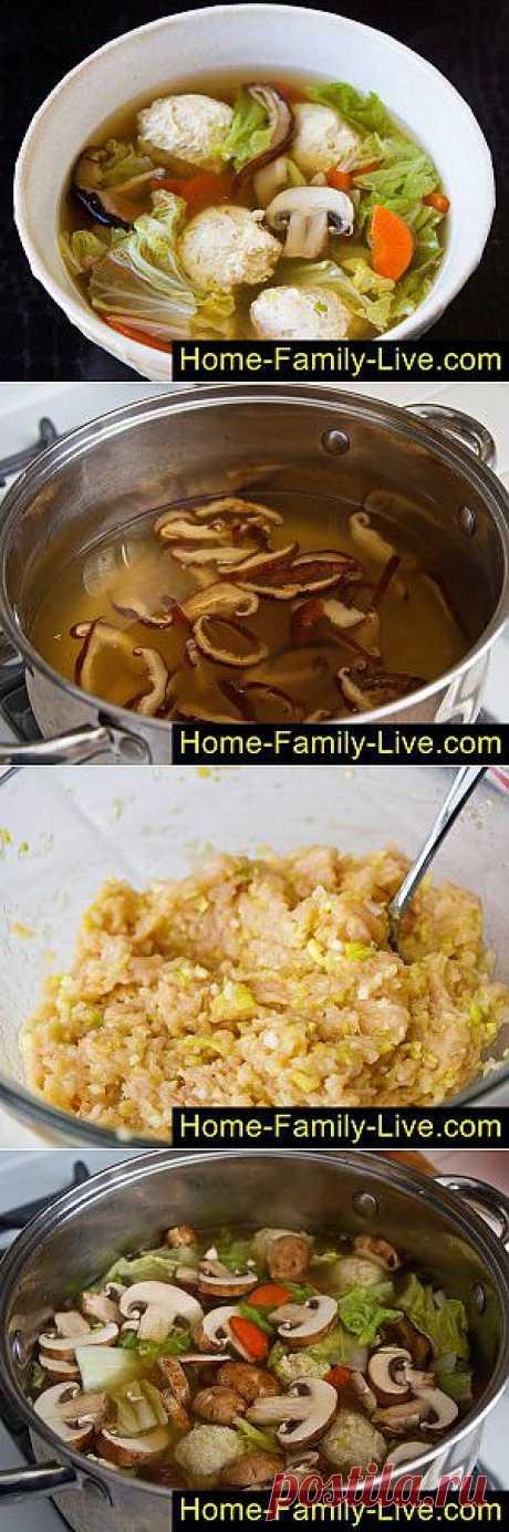 Грибной суп с фрикадельками - пошаговый фоторецепт - суп с шиитаки и фрикадельками   Кулинарные рецепты