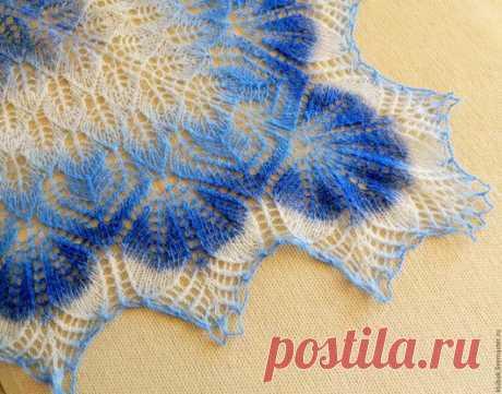 """Купить шаль """"Зимняя сказка"""" - синий, подарок 2015, голубой, шаль вязаная, шаль"""