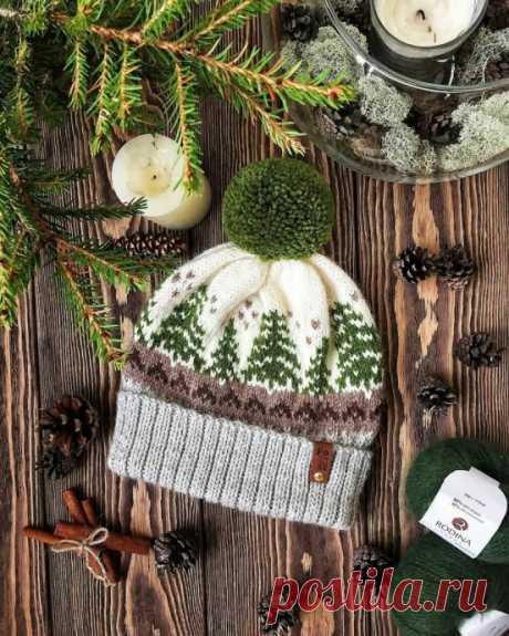 Зимний жаккард для уютной шапочки из категории Интересные идеи – Вязаные идеи, идеи для вязания