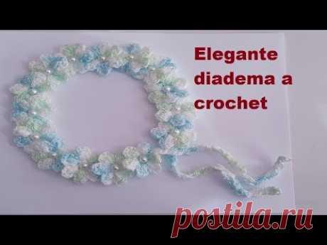 Diadema de flores tejidas a crochet paso a paso - para bebe, niñas y mujer