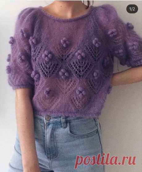 Мохеровый свитер спицами фиолетовый свитер вязанный спицами свитер