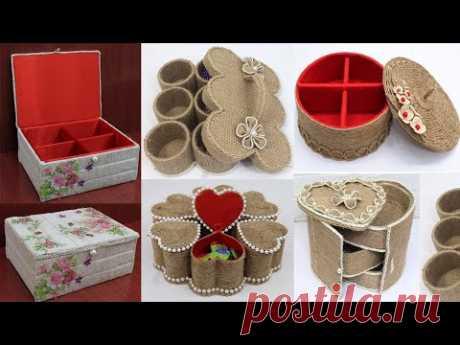 10 Storage Organizer Box Ideas from Waste Material | Jute Craft Ideas