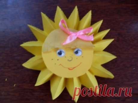 Солнышко из цветной бумаги - Поделки с детьми | Деткиподелки