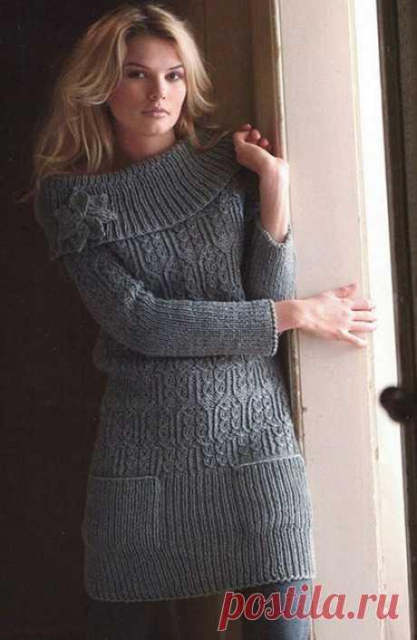 Платье с воротником на плечах спицами – 4 модели со схемами и описанием — Пошивчик одежды