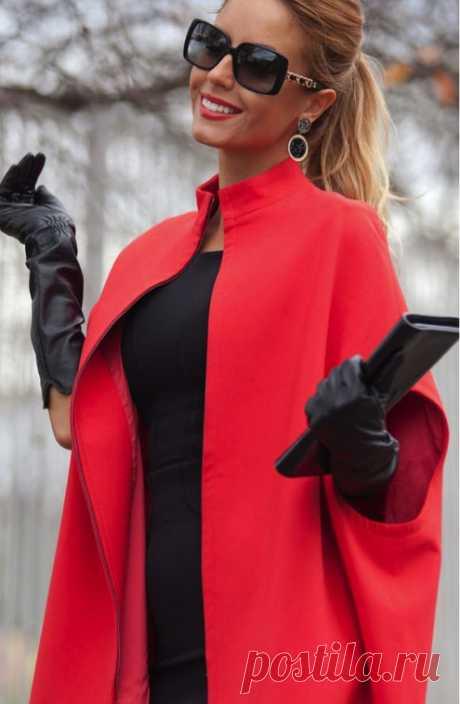 Выкройка стильного пальто-накидки к весне — Сделай сам, идеи для творчества - DIY Ideas
