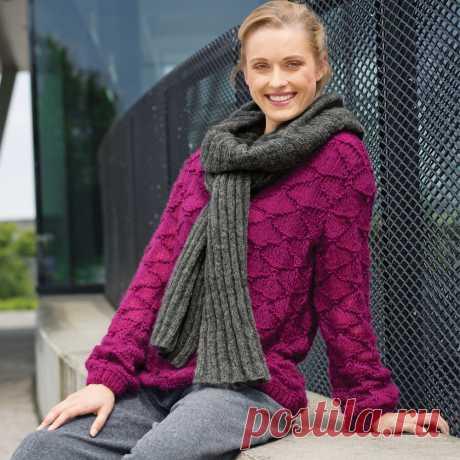Джемпер цвета фуксии - схема вязания спицами. Вяжем Джемперы на Verena.ru