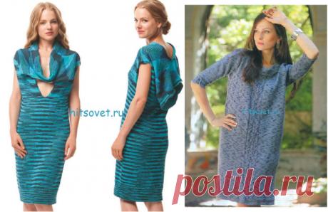 Вязание спицами - Платья спицами - Два интересных платья спицами простой вязки из пряжи: меланж и секционного крашения