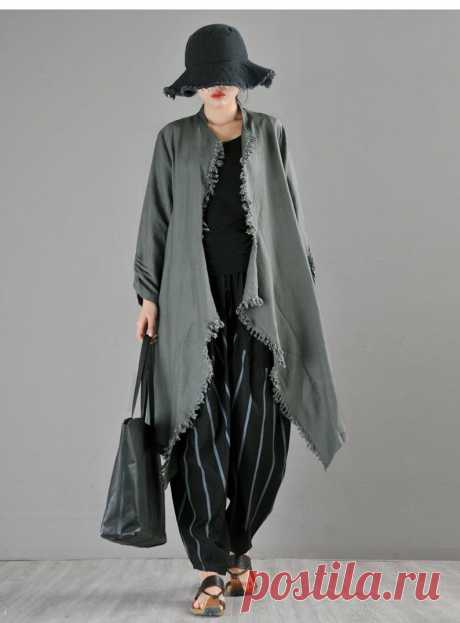 Dark Green Linen Trench Coat Women-Trench Coat-Irregular Linen | Etsy
